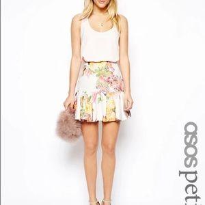 ASOS Petite Flare Peplum Mini Floral Skirt 0 XS